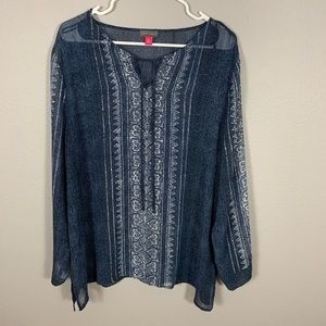 NWT Vince Camilo Blue White Pattern Sheer Blouse